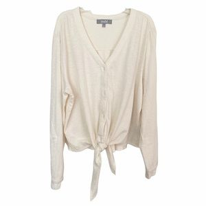 Marled Reunited Clothing V-Neck Front Tie Top Long Sleeves Blouse
